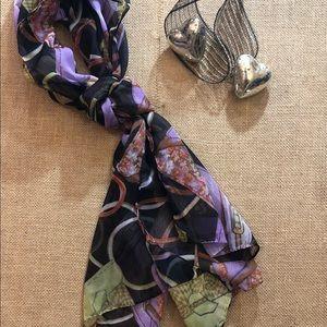 Black Rectangular Scarf with Handbags Print 20x66